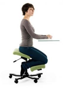 model on a knee stool