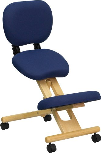 Flash Furniture Wooden Ergonomic Posture Stool With